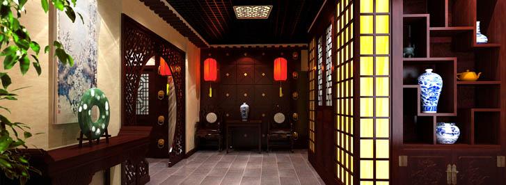 中式茶馆为古典印象中式设计装修,茶馆古雅而幽静,为品茶打造一方人间静境。木梁古灯,古典花格木门透着远古的风骨,与简洁线条的地灯形成一种和谐,灯光照射在发黄的书法墙面上,仿青石地面上陈列着汉式供桌,古雅之风便如一缕清风,悠扬地在空间飘荡。 茶馆中式设计墙面大面积用青砖,地面是灰色仿岩古砖镶贴,通往各个茶室运用木桥,茶室各个空间用木格隔成半通透的空间,坐在包间内品香茗,心静则自凉。品,有修身养性,淡看红云四方,芸芸众生中,不与争锋之说。我之好茶,只为在茶中寻找一份淡定从容的心境。寒夜品读茶楼,并不单单是饮用茶