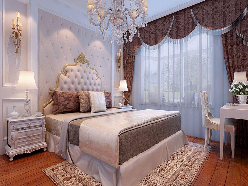 卧室背景墙采用软包方式,两边采用石膏线欧式造型,简单美观.