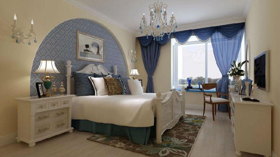 次卧墙面采用米黄色,圆弧形的床头背景内贴蓝色壁纸,整个空间色调蓝白