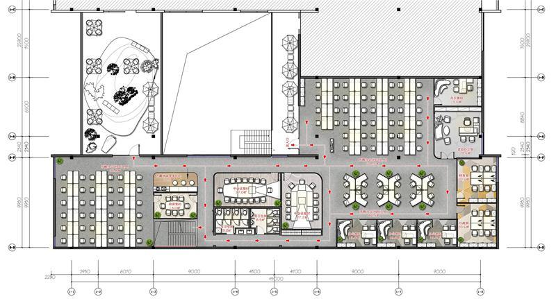 办公室设计方案平面图:此处属于办公空间的内部空间,在这里最后一处