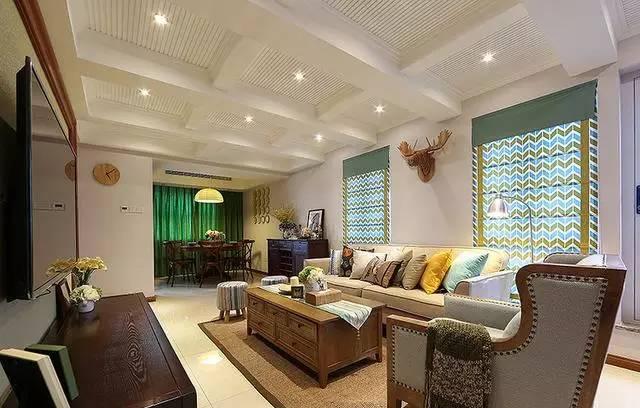 160㎡美式复式楼装修案例,客厅吊顶很是精致迷人!图片